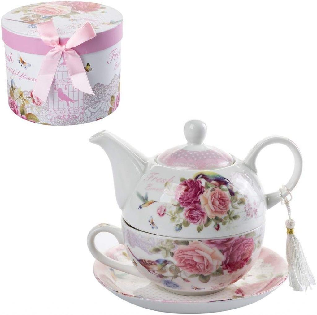 Juego de té imprimaciones florales