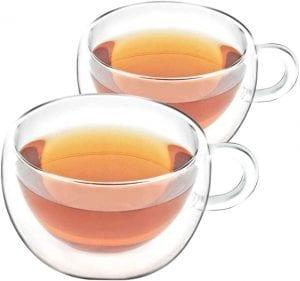 tazas de cristal para té con doble pared