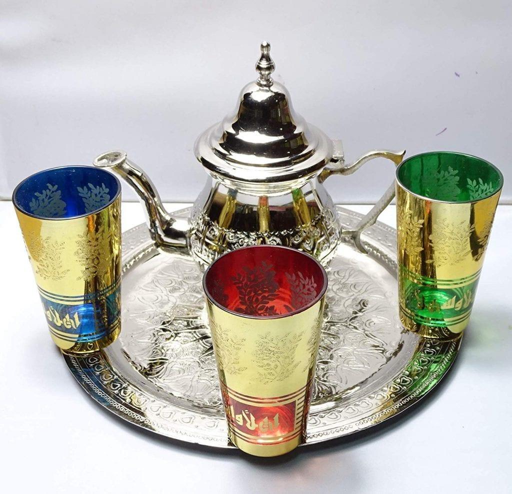 juego de té marroqui bandeja de alta calidad
