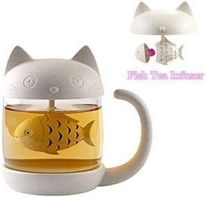 taza de té de cristal taza estilo gatuno