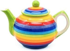tetera de cerámica WindHorse Rainbow Striped