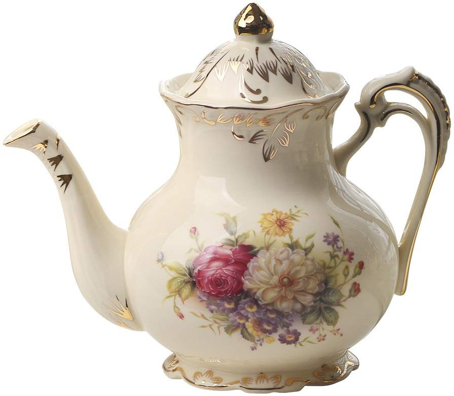 tetera de cerámica con diseño de arbustos de flores de Yolife color marfil diseño floral vintage, 847 ml