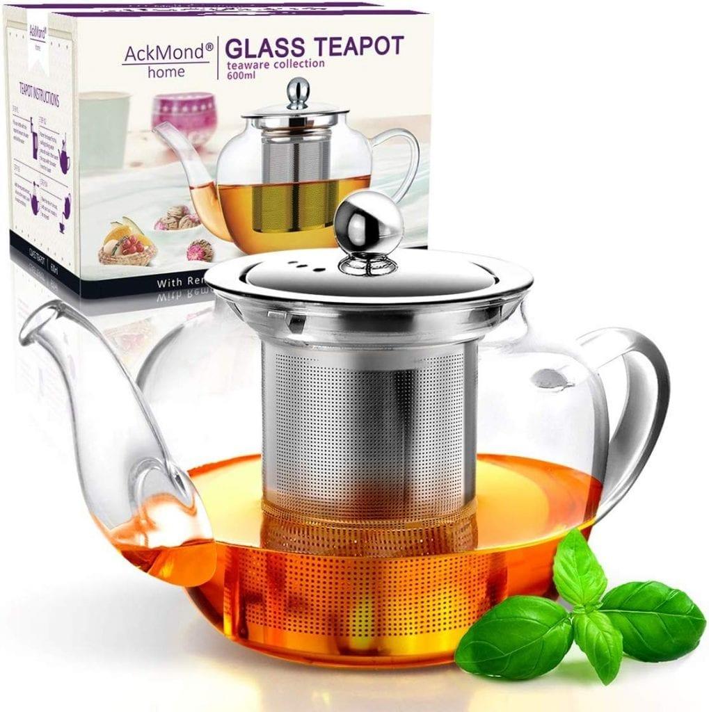 tetera de cristal ACKMond 600ml tetera de cristal transparente en forma de manzana con infusor de acero inoxidable resistente al calor