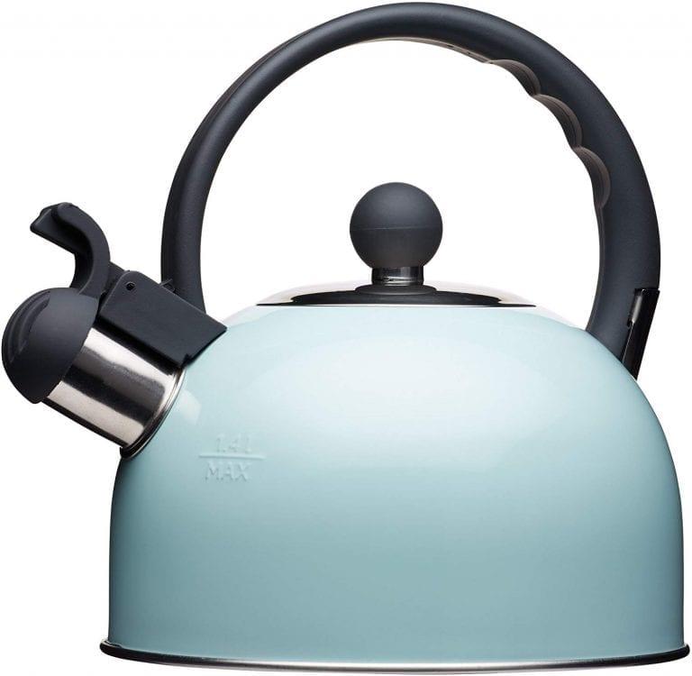 tetera para inducción Kitchencraft Living Nostalgia Tetera de silbadora para cocina de inducción y eléctrica, 1,4L