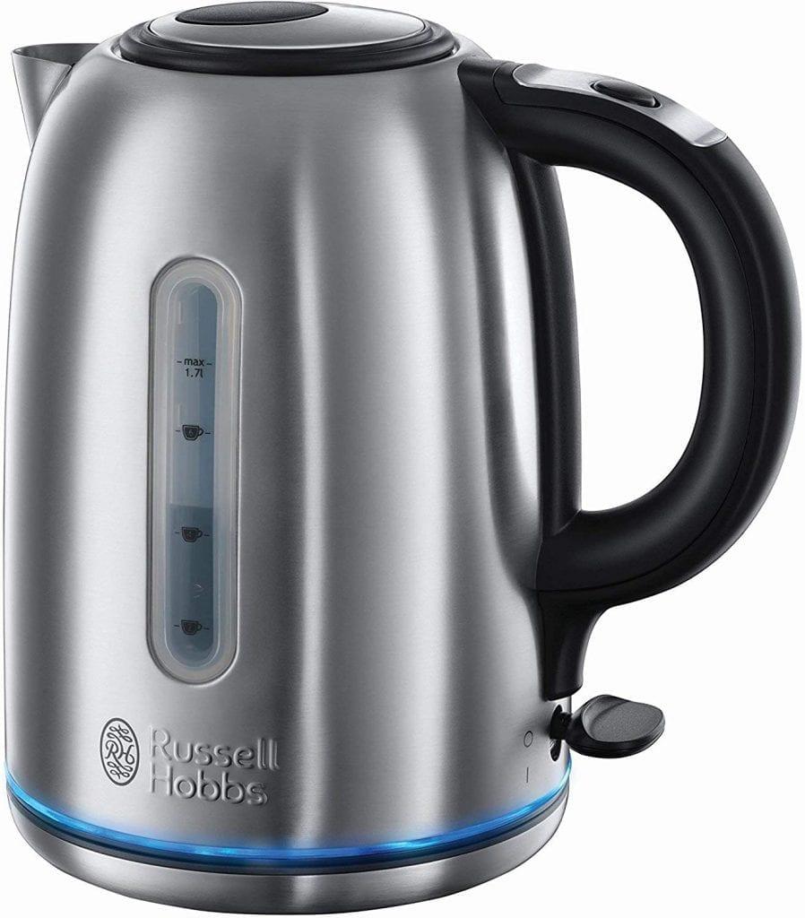 tetera russell hobbs Buckingham hervdior de agua eléctrico 2400w 1.7 litros acero inoxidable iluminacion azul