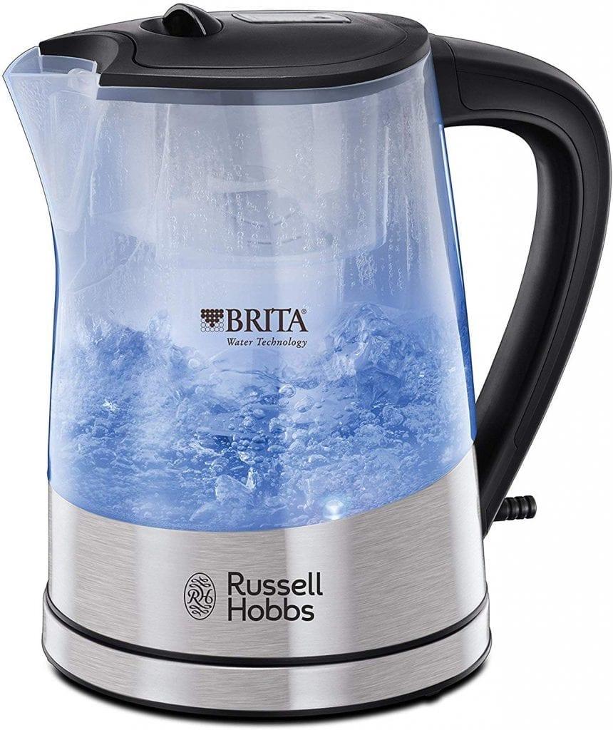 tetera russell hobbs purity herbidor de agua eléctrico con filtro brita 2200w 15 l plásticos inoxidables