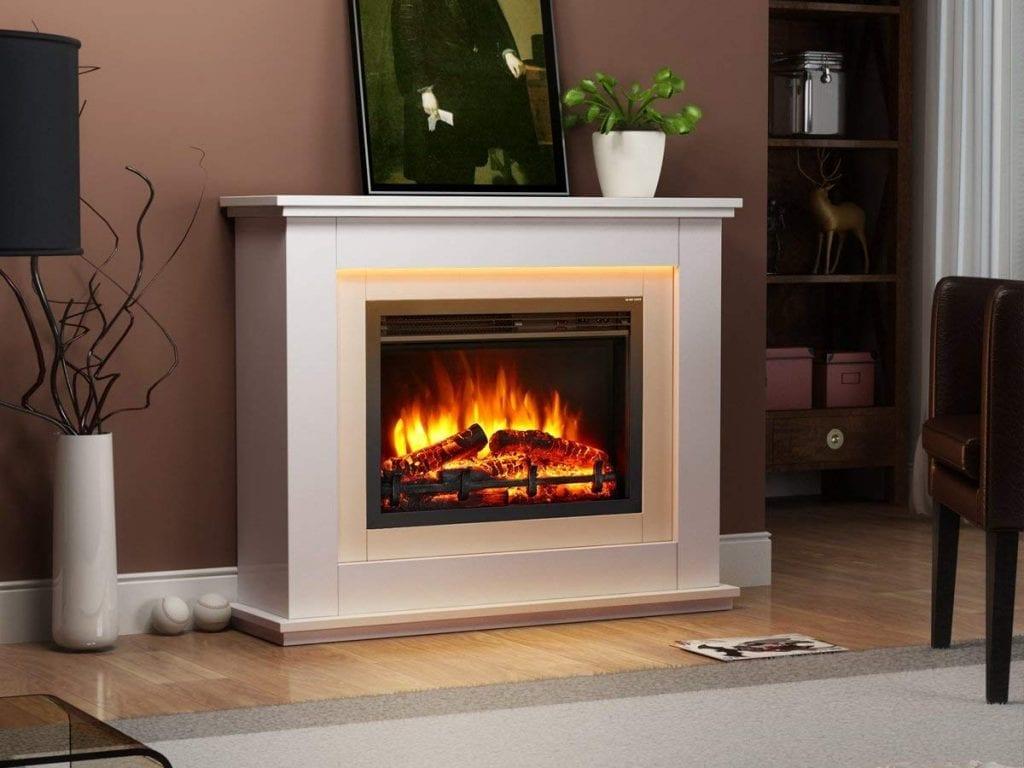 estufas eléctricas modernas calefactora blanca simulando la quema de leña con efecto fuego