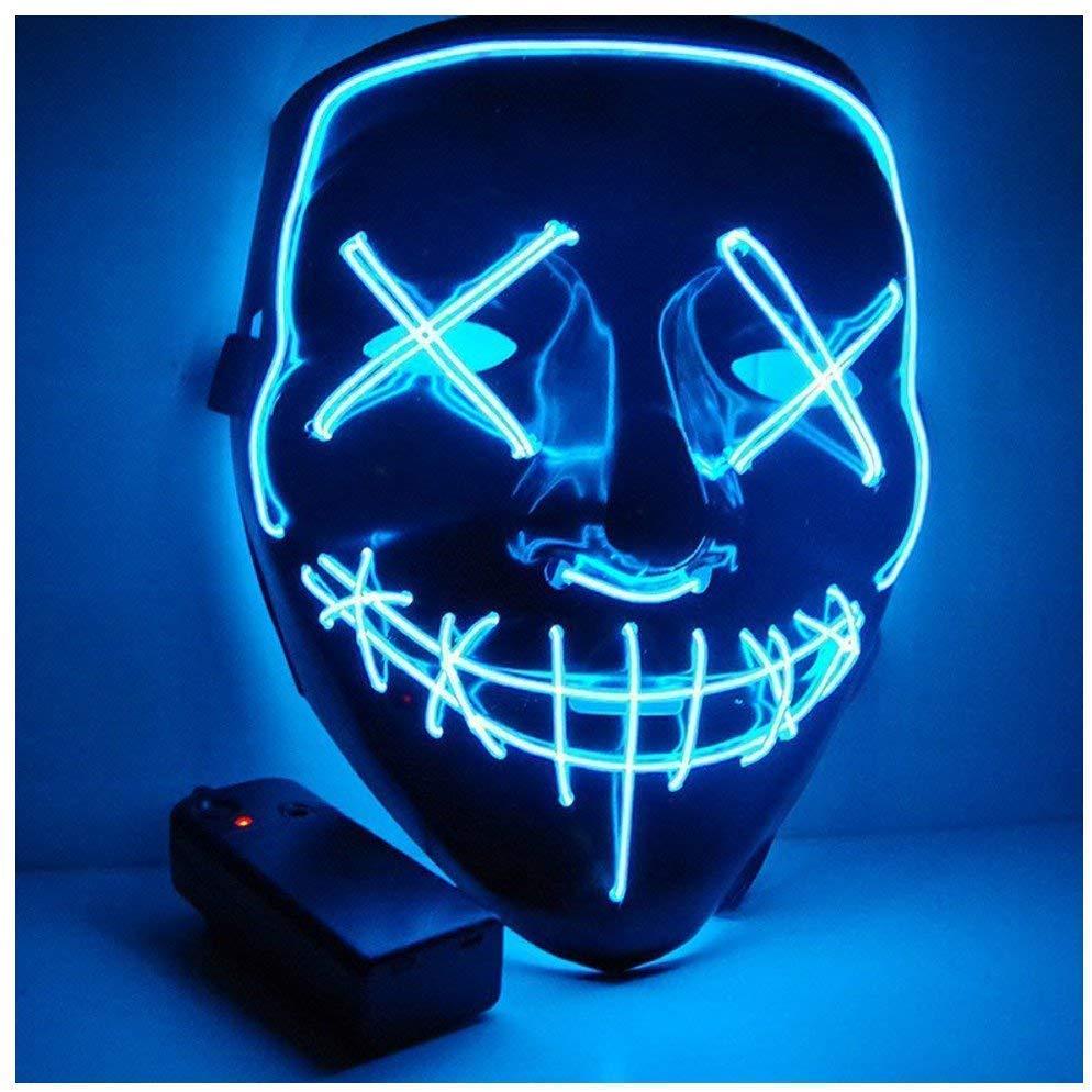 ghonlzin mascara led para halloween azul