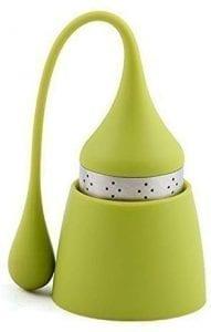 Infusor de té de acero inoxidable y siliconado de grado alimenticio verde