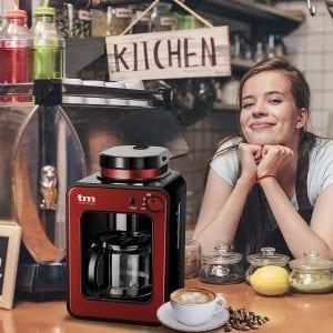 cafetera pequeña de goteo roja ideal para la cocina