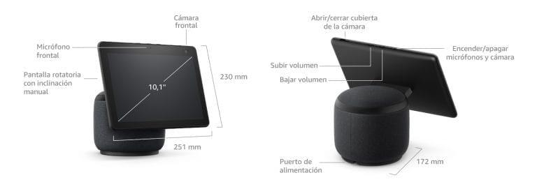 dimensiones y tamaño del echo show 10